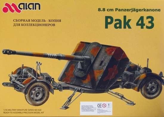 Niemieckie przeciwpancerne działo kalibru 88 mm Pak 43 , plastikowy model do sklejania Alan Hobbies Ltd. nr 020 w skali 1:35