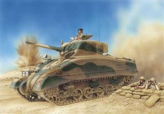 Amerykański czołg średni M4 SHERMAN z bitwy pod El Alamein, plastikowy model do sklejania Dragon 6447 w skali 1:35