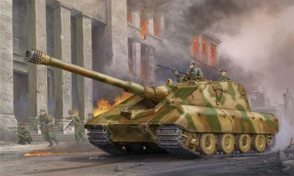 Niemiecki niszczyciel czołgów Jagdpanzer E-100, plastikowy model do sklejania Trumpeter 01596 w skali 1:35.