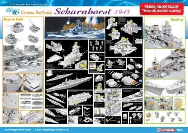 German Battleship Scharnhorst 1943 - Dragon 1040, foto c