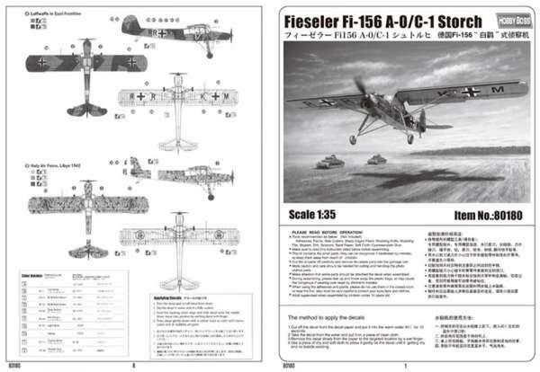 Hobby Boss 80180 Samolot Fieseler Fi 156 A-0/C-1 Storch