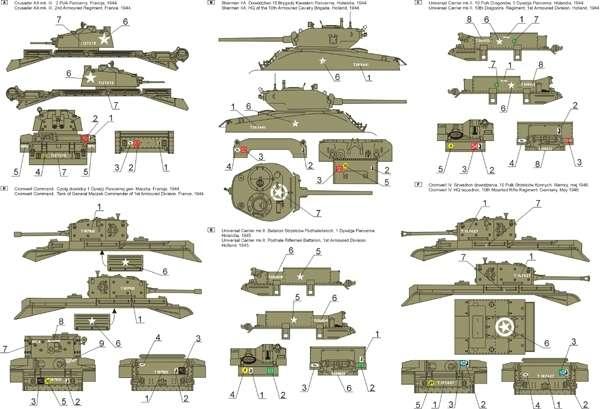 Kalkomania - 1 Dywizja Pancerna 1944-46 cz.2  skala 1-48