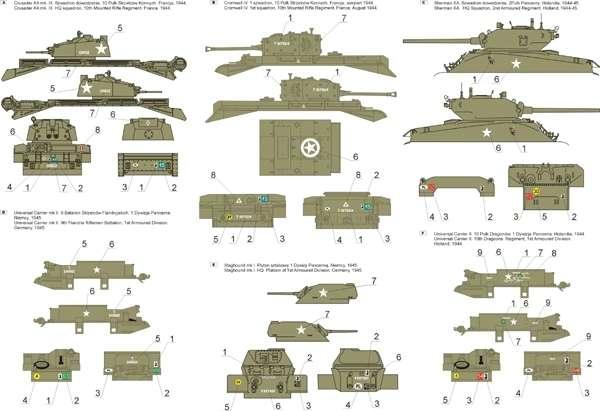 Kalkomania - 1 Dywizja Pancerna 1944-46 cz.3  skala 1-48