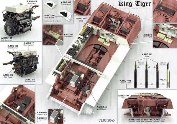 Model Takom 2073 w skali 1:35 - image c - King Tiger Henschel Turret w / interior