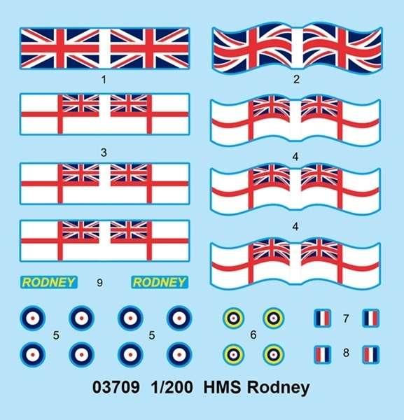 Brytyjski okręt wojenny - pancernik HMS Rodney w skali 1:200 plastikowy model do sklejania Trumpeter_03709_image_9