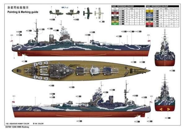 Brytyjski okręt wojenny - pancernik HMS Rodney w skali 1:200 plastikowy model do sklejania Trumpeter_03709_image_19