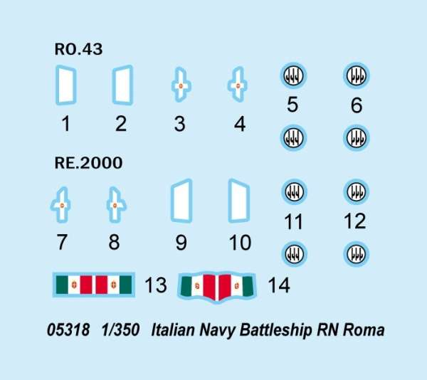 Model włoskiego pancernika RN Roma w skali 1:350 do sklejania, model Trumpeter 05318_image_3-image_Trumpeter_05318_3