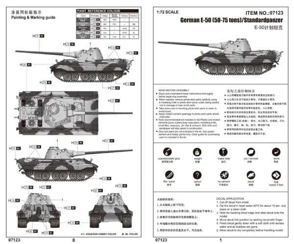 Trumpeter 07123 w skali 1:72 - model E-50 50-75 tons - Standardpanzer do sklejania - image e