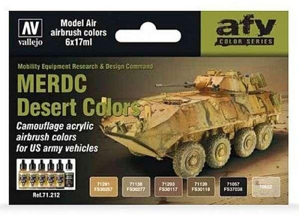 Zestaw 5 modelarskich farb akrylowych oraz lakieru - MERDC Desert Colors - Vallejo 71212