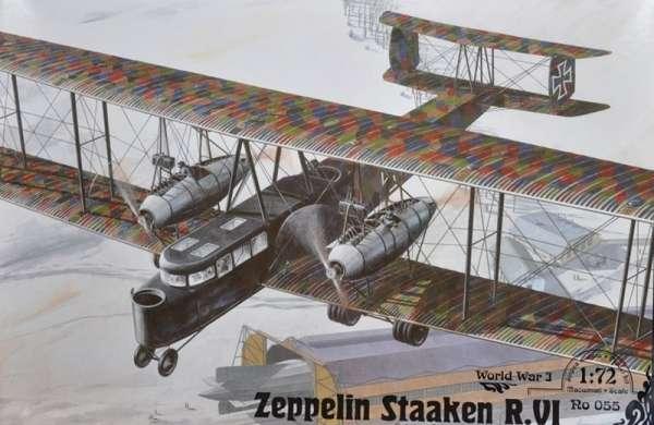 Niemiecki dwupłatowy ciężki bombowiec Zeppelin Staaken R.VI, plastikowy model do sklejania Roden 055 w skali 1:72