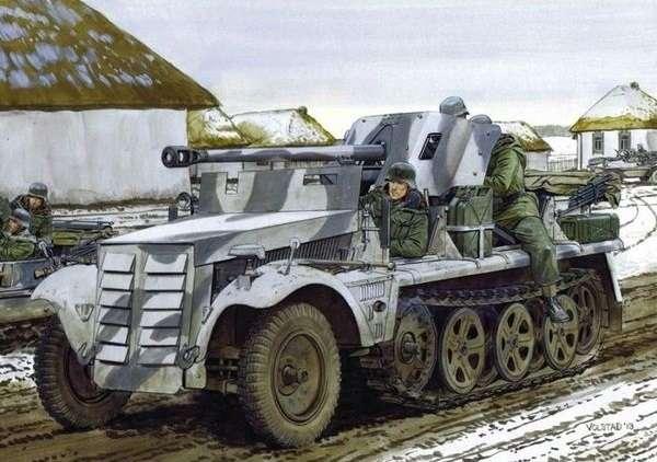 Niemiecki lekki ciągnik artyleryjski Zugkrafteagen 1t z armatą 5cm PaK 38, plastikowy model do sklejania Dragon 6719 w skali 1:35.
