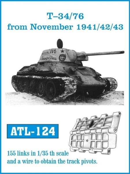 Metalowe gąsienice do modelu T-34/76 od listopada 1941/42/43 w skali 1:35, Friulmodel ATL-124