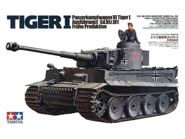Niemiecki czołg Tiger I  (wczesna produkcja), plastikowy model do sklejania Tamiya 35216 w skali 1:35.