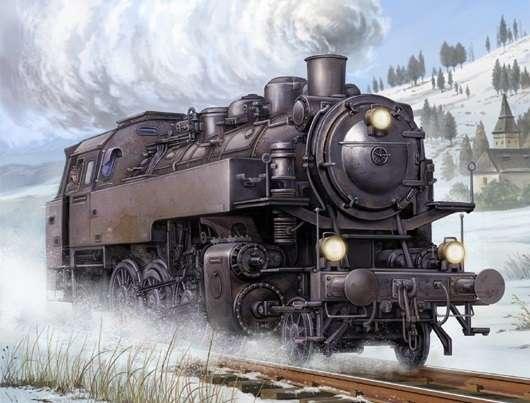 Niemiecka lokomotywa parowa BR86, plastikowy model do sklejania Trumpeter 00217 w skali 1:35.