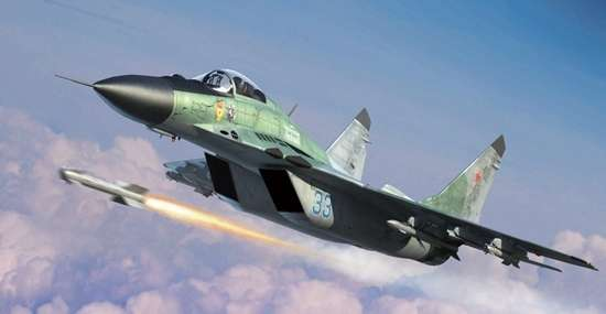 Rosyjski współczesny samolot myśliwski MiG-29C Fulcrum , plastikowy model do sklejania Trumpeter 01675 w skali 1:72