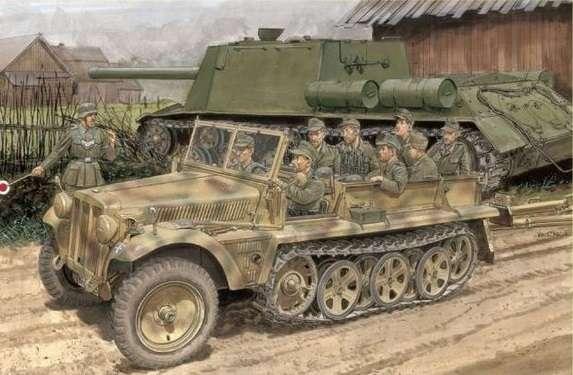 Model transportera półgąsienicowego Sdkfz 10 wersja B w skali 1:35. MOdel Dragon 6731