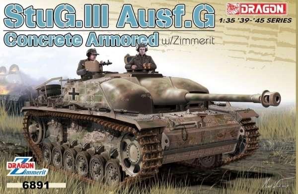 Niemieckie samobieżne działo pancerne StuG III wersja G z Zimmerit-em, plastikowy model do sklejania Dragon 6891 w skali 1:35