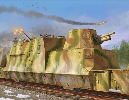Niemiecki pancerny wagon artyleryjski - wagon typu BP42, plastikowy model do sklejania Trumpeter 01511 w skali 1:35-image_Trumpeter_01511_1