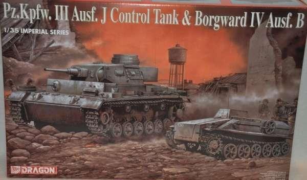 Niemiecki czołg PZ.III oraz pojazd Borgward IV, plastikowe modele do sklejania Dragon 9054 w skali 1:35.