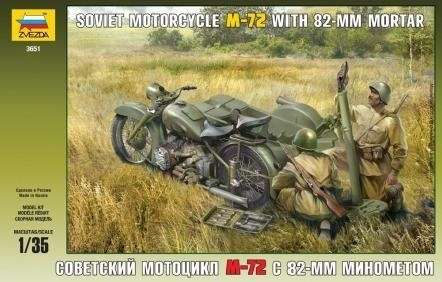 Radziecki wojskowy motocykl M-72 z koszem oraz moździerzem 82 mm i z żołnierzami, plastikowy model i figurki do sklejania Zvezda 3651 w skali 1:35