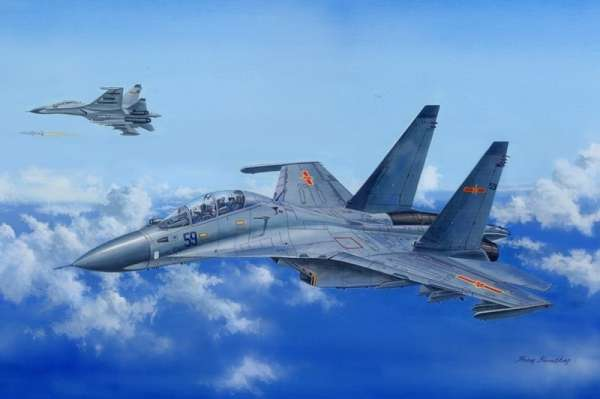 Wielozadaniowy samolot konstrukcji rosyjskiej Suchoj Su-30MKK Flanker G, plastikowy model do sklejania Hobby BOss 81714 w skali 1:48