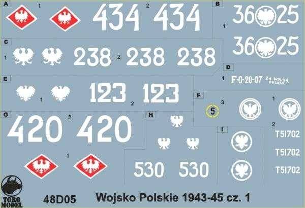 Kalkomania Wojsko Polskie 1943-45 cz. 1, polska kalkomania do modeli w skali 1/48.