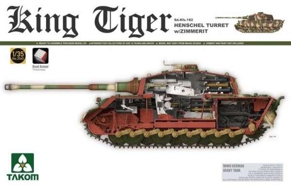 Niemiecki czołgu KingTiger z wieżyczką Henchel Turret oraz z zimmeritem i wnętrzem, plastikowy model do sklejania Takom 2045 w skali 1:35