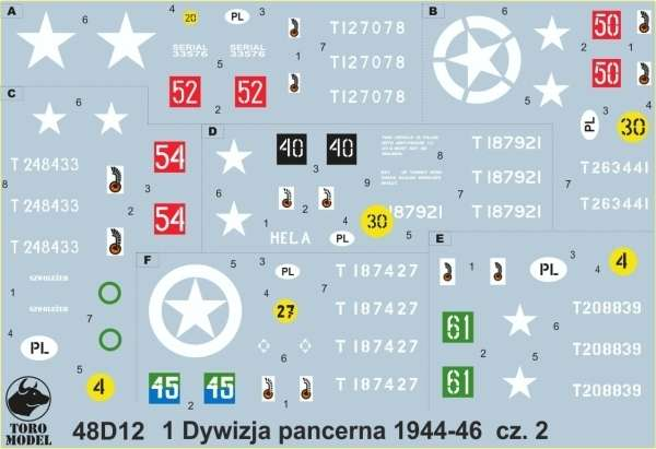 Kalkomania 1 Dywizja Pancerna 1944-46 cz. 2, polska kalkomania do modeli w skali 1/48.