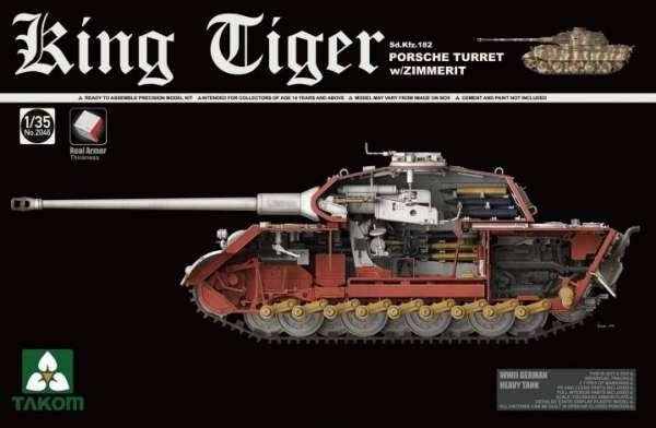 Niemiecki czołg KingTiger Sd.Kfz.182 Porsche Turret z zimmeritem, plastikowy model do sklejania Takom 2046 w skali 1:35.