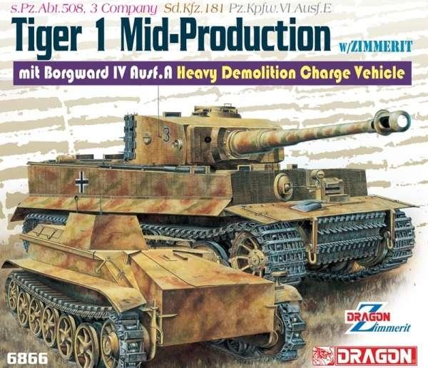 Niemiecki ciężki czołg Pz.Kpfw. VI Ausf. E Tiger I z Zimmeritem oraz pojazd Borgward IV Ausf. A., plastikowe modele do sklejania Dragon 6866 w skali 1:35