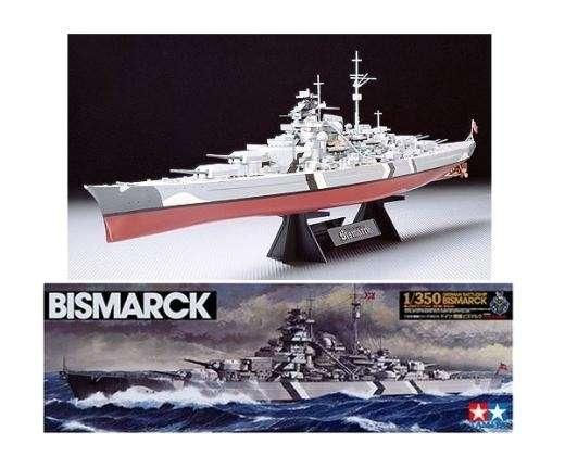 Model niemieckiego pancernika Bismarck z okresu WWII, plastikowy model Tamiya 78013 do sklejania w skali 1/350.-image_Tamiya_78013_1