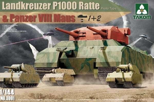 Niemiecki prototypowy super ciężki czołg Landkreuzer P1000 oraz 2 czołgi Maus, plastikowe modele do sklejania Takom 3001 w skali 1/144.