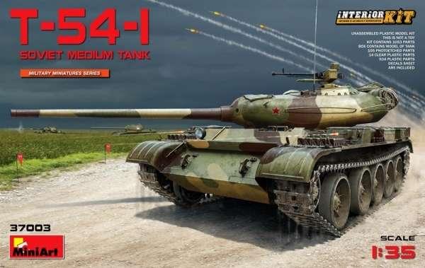 Radziecki czołg podstawowy T-54-1 z dokładnie odwzorowanym wnętrzem, plastikowy model do sklejania MiniArt 37003 w skali 1:35