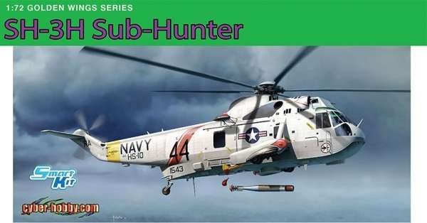 Amerykański dwusilnikowy śmigłowiec zwalczania okrętów podwodnych Sikorsky SH-3H, plastikowy model do sklejania Dragon 5114 w skali 1:72.