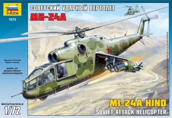 Radziecki śmigłowiec Mi-24A Hind, plastikowy model do sklejania Zvezda 7273 w skali 1:72.