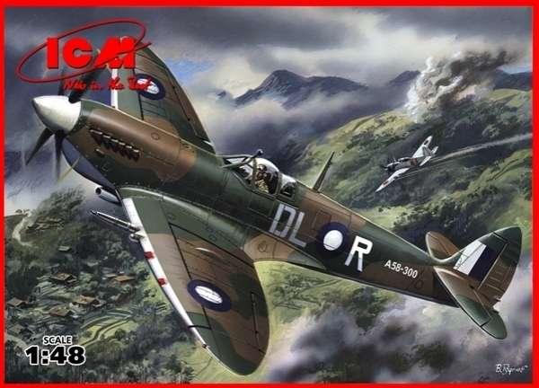 Brytyjski samolot myśliwski Spitfire Mk.VIII, plastikowy model do sklejania ICM 48067 w skali 1:48