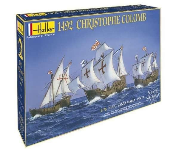 Zestaw modelarski zawierający 3 statki biorące udział w pierwszej wyprawie Krzysztofa Kolumba w 1492 r.: Nina, Santa Maria oraz Pinta w skali 1:75