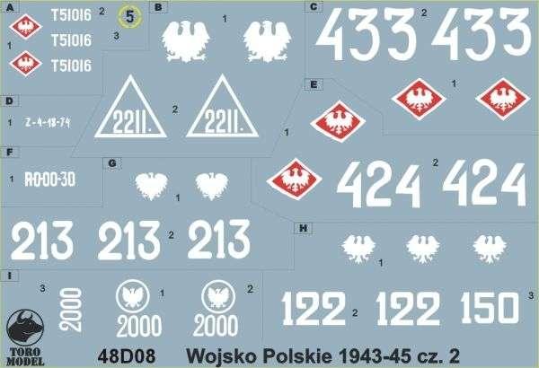 Kalkomania Wojsko Polskie 1943-45 cz. 2, polska kalkomania do modeli w skali 1/48.