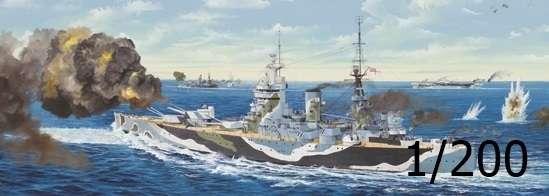 Brytyjski pancernik HMS Rodney, plastikowy model do sklejania Trumpeter 03709 w skali 1:200.