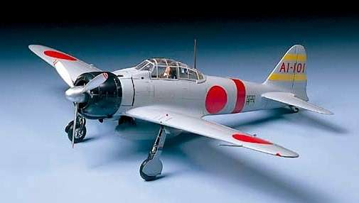 Japoński myśliwiec Mitshubishi A6M2 Zero Fighter (Zeke), plastikowy model do sklejania Tamiya 61016 w skali 1:48