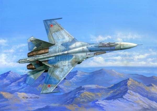 Radziecki samolot myśliwski Su-27 Flanker B, plastikowy model do sklejania Hobby Boss nr 81711 w skali 1:48