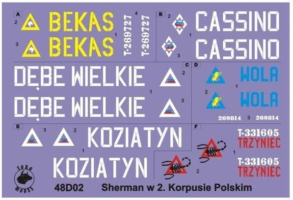 Kalkomania - Shermany w 2 Korpusie Polskim, Włochy 1945 - skala 1:48, 48D02