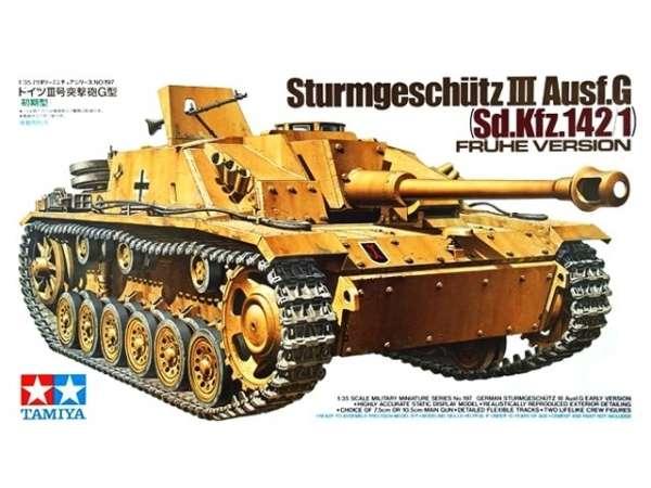 Niemiecki niszczyciel czołgów Stug III w wersji G, plastikowy model do sklejania Tamiya 35197 w skali 1/35.-image_Tamiya_35197_1