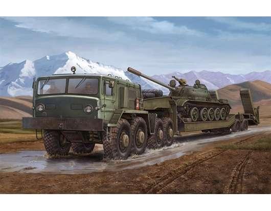 Radziecka ciężarówka MAZ-537G wraz z naczepą do transportu czołgów, plastikowy model do sklejania Trumpeter 00211 w skali 1:35