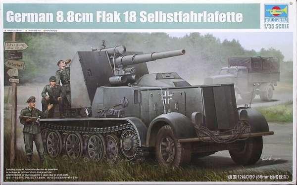 Samobieżne działo ppanc Flak 18 na podwoziu DB s8, DB9 w skali 1:35. Model Trumpeter 01585 do sklejania.
