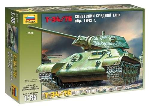 Radziecki czołg T-34/76, plastikowy model do sklejania Zvezda 3535 w skali 1:35