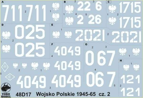 Kalkomania Wojsko Polskie 1945-65 cz. 2, polska kalkomania do modeli w skali 1/48.