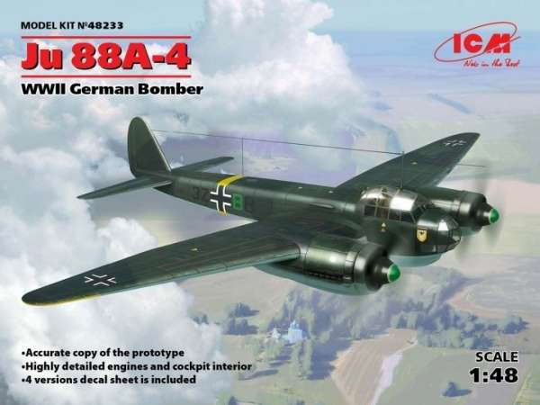 Plastikowy model samolotu Junkers Ju88A-4 do sklejania i malowania, model ICM 48233.