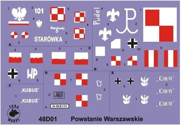 Kalkomania - Pojazdy opancerzone Powstania Warszawskiego - skala 1:48, 48D01