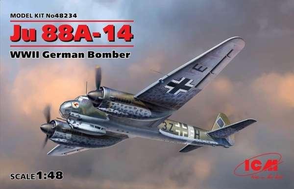 Niemiecki dwusilnikowy bombowiec Junkers Ju 88A-14, plastikowy model do sklejania ICM 48234 w skali 1:48
